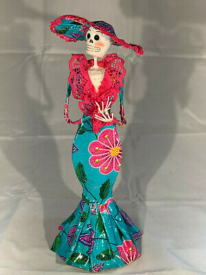 """Mexican Day of Dead Doll Catrina Pink & Teal Dress Handmade Paper Mache 14"""""""