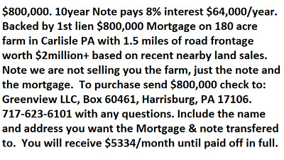 $600,000 Note Pays 12% interest $6,000/month $72,000/year w/1st Lien Mortgage