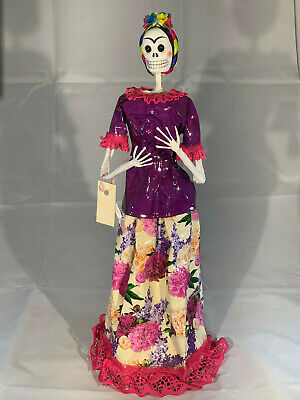 """Mexican Day of Dead Doll Catrina Purple & Flowers Dress Handmade Paper Mache 14"""""""