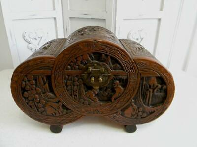 Breathtaking Antique Hand Carved Wood Asian Chinese Chest~Unique Shape & Scenes
