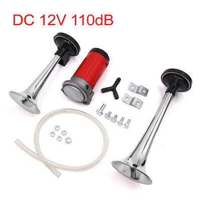 DC 12V 110dB Silver Tone Loud Dual Trumpet Air Horn Compressor Kit for Car