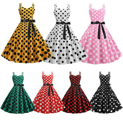 Women Flared Pin Up Gothic Dance 50s 60S Rockabilly Swing Polka Dot Party Dress