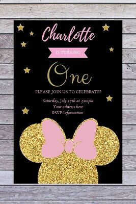 Personalised Minnie Mouse Theme Birthday Invitation