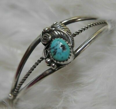 "Vintage Hand Wrought Turquoise 0.925 Sterling Silver 6 1/2"" Cuff Bracelet"