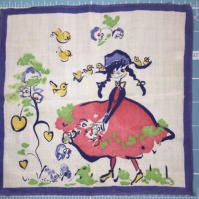 Antique Deco Childs Hand Painted Hankerchief 1930s - 40s French German