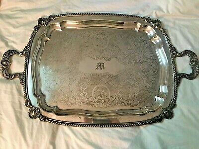 Antique Serving Tray Silver Plated Copper Monogramed (M) Footed Large- Heavy!