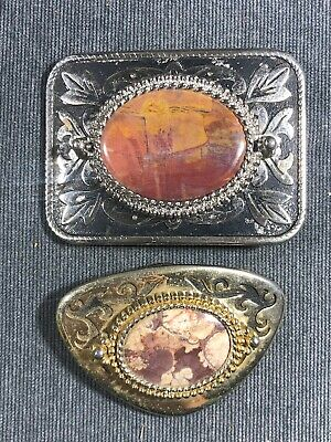 2 x Vintage Stone Mineral Gold & Silver Tone Belt Buckles (used) Free Ship