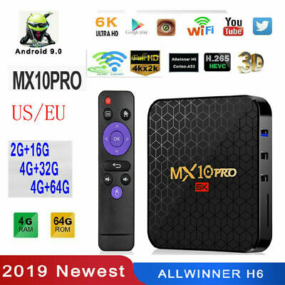 MX10 Pro Android 9.0 6K HD Quad Core TV Set Top Box 4+32G/64G Media Player WiFi