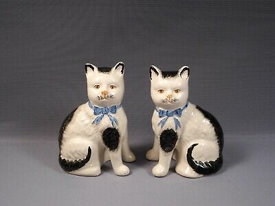 STAFFORDSHIRE CATS Figurine 1800's Antique 19th Century Large Rare