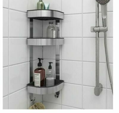 Shower Rack Stainless Steel 3 Tier Bathroom Organiser Corner Wall Shelf Unit