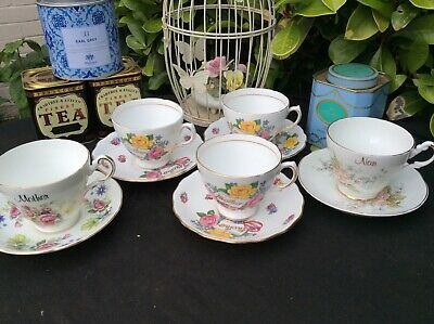 English Bone China 4 x Mother 1x Nan Cups & Saucers Floral Pattern Candle Crafts