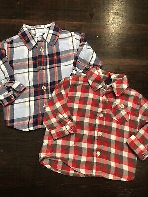 Old Navy Baby Boy Shirts Size 3-6 Month Plaid Button Up Set Of Two
