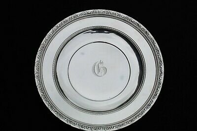 "Medici By Reed & Barton Sterling Silver Sandwich Plate 10 1/2"" Mono ""G"" 11.1 Oz."