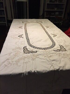 ESTATE Vintage Lace Cut Out Embroidered Off White Tablecloth , 94 X 64