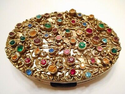 DAZZLING 1950's Vintage RHINESTONE Encrusted COMPACT by DORSET - Signed