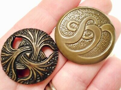 PAIR of EARLY 1900s Vintage ART NOUVEAU Celluloid WHIPLASH Clothing BUTTONS