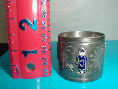 Antique Palmer Cox Brownies - Silver Plate Napkin Ring - Enamel Figures Around