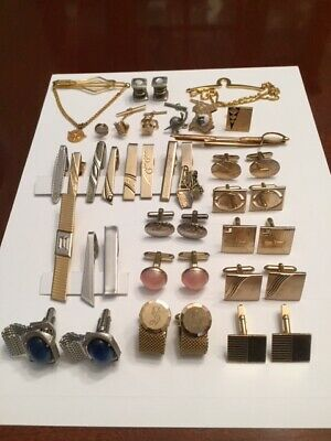 db59a5443a56 40 pcs Lot Of Vintage Cuff Links, Tie Clips & Tie Tacks gold and silver