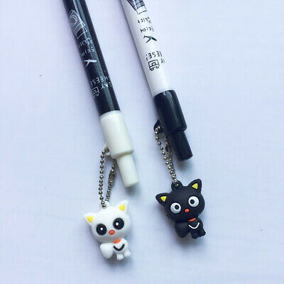 10X Lovely Cute White Black Cat Kitten Press Mechanical Automatic Pencil