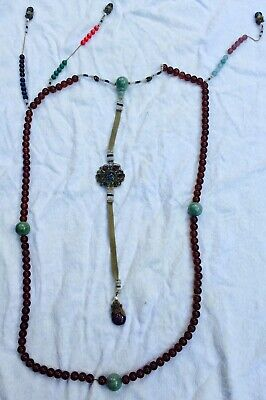 Chinese Antique Amber Courtyard Necklace (Very Rare)