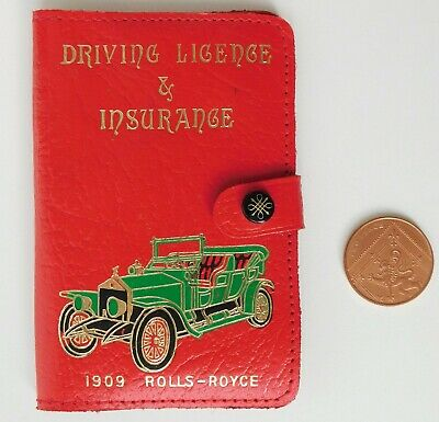 Vintage red leather motorists wallet Rolls Royce driving licence car insurance