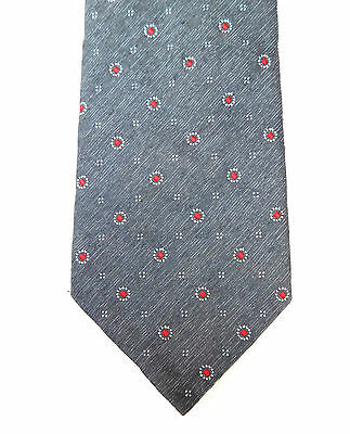 Vintage 1970s M&S tie Grey Red and white spots Machine washable British made