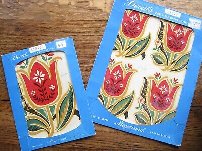 Vintage 5 Meyercord Decals Tulips # X 157-C and X 157-B