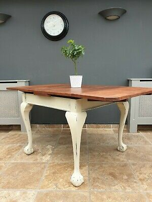 vintage antique style shabby chic mahogany draw leaf dining / kitchen table