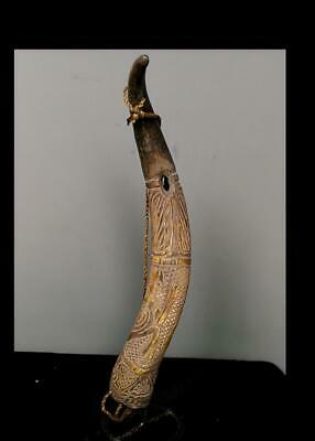 Old  Tribal Bamum Trumpet  Figure (Animal Horn)    -  Cameroon BN 50