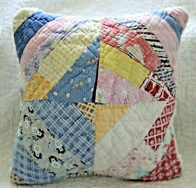Throw Pillow Made With 1930's Depression Era Feedsack Patchwork Cutter Quilt