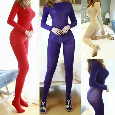 Damen Velvet Super Elastisch Full Bodystocking Body Catsuit Strumpfhose Bodysuit
