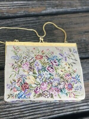 Vintage Pink Floral Petit Point Embroidery Needlework Purse Evening Bag 50s 60s