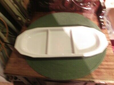 pfaltzgraff white heritage 3 section long tray relish rare old castle mark usa