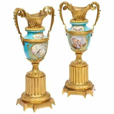 Pair of French Ormolu-Mounted Turquoise Sevres Porcelain Vases, circa 1880