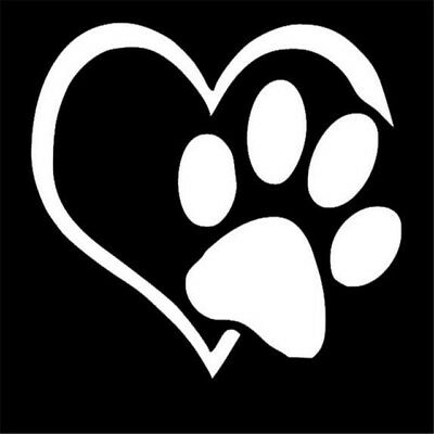 Heart Dog Paw Dogs Puppies Vinyl Decal Sticker Customizable Car many sizes