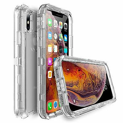For iPhone XR XS Max Shockproof Crystal Clear Case Fit Otterbox Defender Series