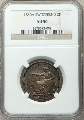 Switzerland 1850-A 2 Francs Silver Coin Almost Uncirculated Ngc Certified  Au-50