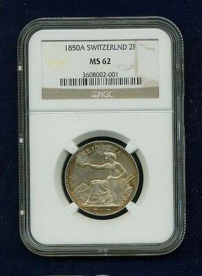 Switzerland  1850-A  2 Francs Silver Coin, Uncirculated,  Ngc Certified  Ms-62