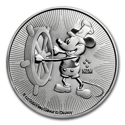 Silver 2017 1 oz Mickey Mouse Steamboat Willie $2 Disney Coin #3