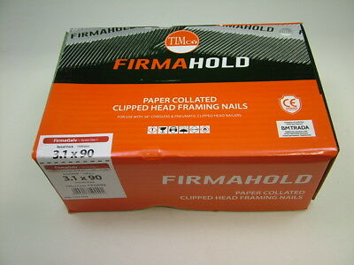 1st fix collated nails 90mm x3.1 box 1100 galvanised Firmahold brand fit Paslode