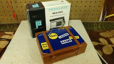 "Mini Suitcase Peerless ""Globe Trotter"" Clock Radio-Displays Great, Clock Works!"