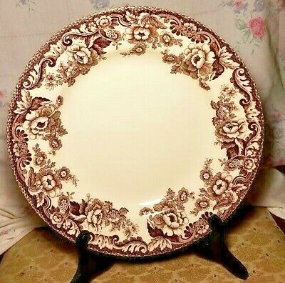 """Spode Delamere Brown Dinner Plate 10.5""""  MINT PERFECT"""