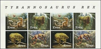 US 5410-5413 5413a T.Rex Tyrannosaurus forever header block (8 stamps) MNH 2019