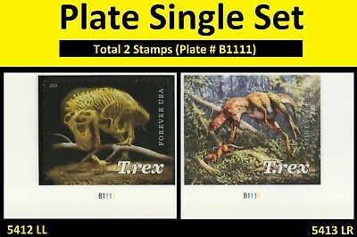 US 5412 5413 Tyrannosaurus Rex forever plate single set (2 stamps) MNH 2019