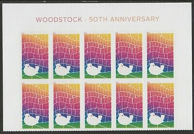 US 5409 Woodstock 50th Anniversary forever header block 10 MNH 2019 after 8/15
