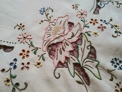 "Wow! Amazing Colorful Cutwork & Embroidered Madeira Linen Tablecloth 42"" by 41"""