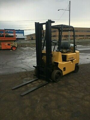 """Hyster 5000# Cap. Propane Forklift 10' Lift 42"""" Forks Cushion Tires Compact,Hd"""