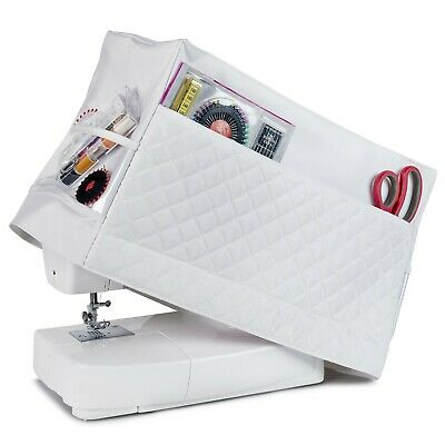 Sewing Machine Dust Cover for Most Standard Singer & Brother Machines (White)