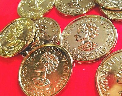 Lot 50 toy plastic coin GOLD Pirate Doubloons TReasure Roman pretend money Prize