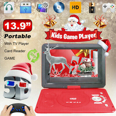 """Red 13.9"""" Portable DVD Player 10.1 Screen Built-in Rechargeable Battery Games CD"""